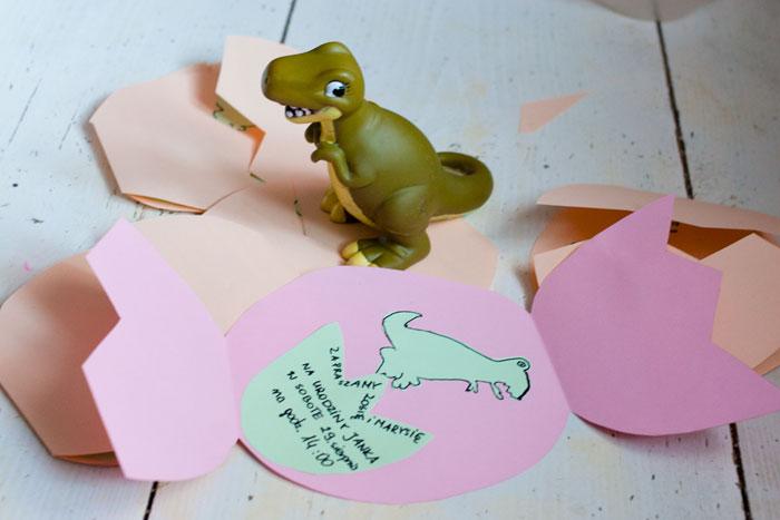 zaproszenie, dinozaury, urodziny