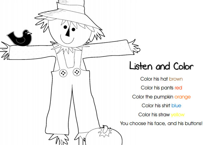 kolorowanki jesienne, karty pracy angielski jesień dla dzieci