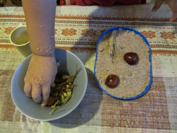 jesienny obrazek, co zrobić z kasztanów, zabawa z dziećmi